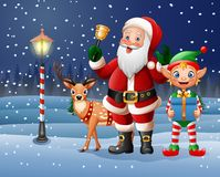 Christmas background with Santa Claus, deer and elf Stock Image