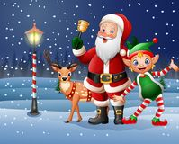 Christmas background with Santa Claus, deer and elf Stock Images