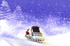 Christmas card. Santa Claus in the car. royalty free stock photos