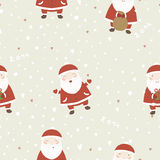 Christmas background with Santa Claus. New year cartoon seamless pattern vector illustration