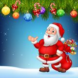Christmas background with Santa Claus presenting stock illustration