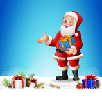Christmas background with Santa Claus reading a long list of gifts Stock Photos