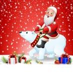 Christmas background with Santa Claus riding polar bear Royalty Free Stock Photo
