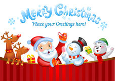 Christmas background. With Santa Claus, a snowman, and other Christmas characters Royalty Free Stock Photography