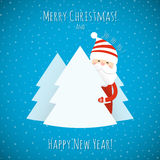 Christmas background  with Santa Claus. Christmas background with Santa Claus and Christmas trees. Vector illustration Stock Photography