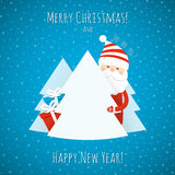 Christmas background  with Santa Claus. Christmas background with Santa Claus and Christmas trees. Vector illustration Royalty Free Stock Images