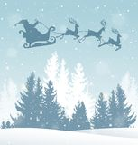 Christmas background with Santa Claus. Christmas vector background with Santa Claus and winter snowy landscape. New Year greeting card Stock Photo
