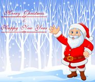 Christmas background with Santa Claus waving hand vector illustration