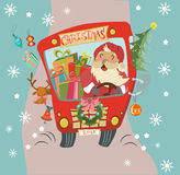 Christmas background with Santa Clause and deer. Funny Christmas background with Santa Clause and deer in bus, retro cartoon illustration Stock Photos