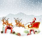 Christmas background with Santa Clause riding his reindeer sleight Stock Image
