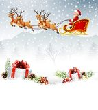 Christmas background with Santa Clause riding his reindeer sleight Royalty Free Stock Images