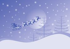 Christmas background with santa and deers, vector Royalty Free Stock Photos