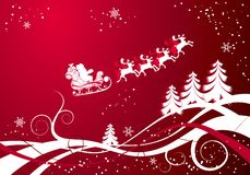 Christmas background with santa and deers, vector Stock Photo