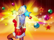 Christmas background with santa girl Royalty Free Stock Images