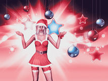 Christmas background with santa girl Royalty Free Stock Image