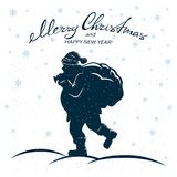 Christmas background with Santa and sack. Text Merry Christmas and Happy New Year and Santa Claus with the sack. Winter background with snowflakes, illustration Stock Photography