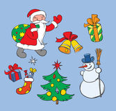 Christmas background with santa and snow man Stock Images