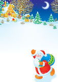 Christmas background with Santa and winter landsca Stock Photos