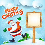 Christmas background with Santa, wooden sign and text Stock Image