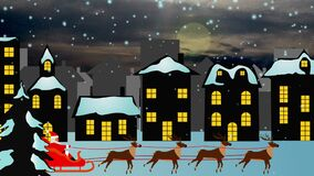 Christmas background scene animation with Santa Claus flying with reindeers around of city night, looping