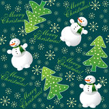 Christmas background seamless. With fir and snowman Stock Image