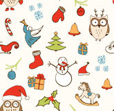 Christmas background, seamless tiling, great choice for wrapping, card design. Pattern with stylized doodle hand drawn elements. Stock Photos