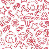 Christmas background, seamless tiling, great choice for wrapping paper pattern. Monkey outline icon Royalty Free Stock Photo