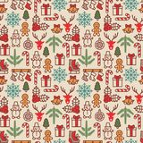 Christmas background, seamless tiling. Vector illustration. Royalty Free Stock Image