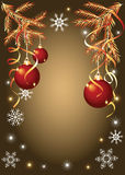 Christmas background with serpentine and balls Royalty Free Stock Photos