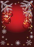 Christmas background with serpentine and balls Stock Photography