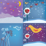 Christmas background set with birds Stock Photo