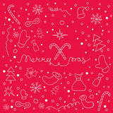 Christmas background with set of Christmas things and lettering Stock Image
