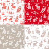 Christmas background set with deer and owl Royalty Free Stock Images