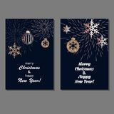 Christmas background set. Set of Christmas background with golden decoration. Holiday christmas dark cards with rose gold snowflakes, balls and firecracker Stock Images