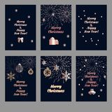 Christmas background set. Set of Christmas background with golden decoration. Holiday christmas dark cards with rose gold snowflakes, balls and firecracker Stock Photography
