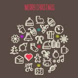 Christmas background with set of icons Royalty Free Stock Photography