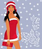 Christmas background with sexy lady Stock Photos