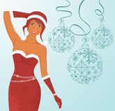 Christmas background with sexy lady and balls Stock Images