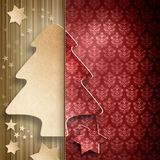Christmas background - shape of tree and stars Stock Photography