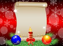 Christmas background with the sheet of paper, green branches and Royalty Free Stock Photo