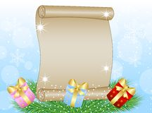 Christmas background with the sheet of paper, green branches and Royalty Free Stock Images