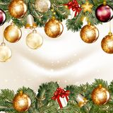Christmas background  with  shining baubles on a fir tree branch Stock Photography
