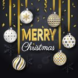 Christmas background with Shining gold ribbons, snowflakes and colorful ornate balls. Merry Christmas card vector. Christmas background with Shining gold ribbons Stock Image