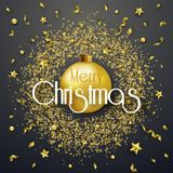 Christmas background with Shining gold ribbons, stars and balls in golden round frame. Merry Christmas card vector. Christmas background with Shining gold Stock Photos