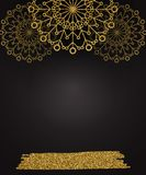 Christmas background with shining gold snowflakes stock photography