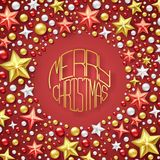 Christmas background with Shining stars and colorful balls. Merry Christmas card illustration on red background. Christmas background with Shining stars and Stock Photo