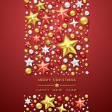 Christmas background with Shining stars and colorful balls. Merry Christmas card vector Illustration. Christmas background with Shining stars and colorful balls Royalty Free Stock Photo