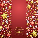 Christmas background with Shining stars and colorful balls. Merry Christmas card vector Illustration. Christmas background with Shining stars and colorful balls Royalty Free Stock Image