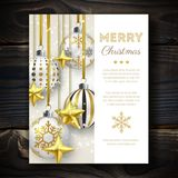 Christmas background with Shining stars, snow and colorful balls on wooden background. Merry Christmas card vector Illustration Stock Photos