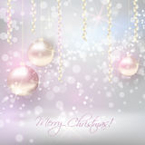 Christmas background with shiny christmas baubles. Christmas background with ribbons and shiny christmas baubles Royalty Free Stock Photos